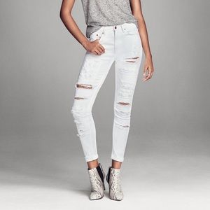 Distrissed High-Waist White Skinny Jeans